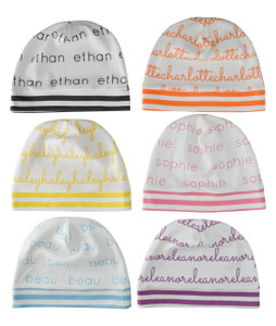 Personalized SLOUCHED Beanies with White Background - 12 months-4T