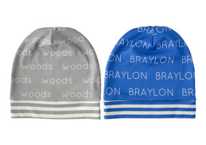 Personalized SLOUCHED Beanies with Colored Background - 12 months-4T