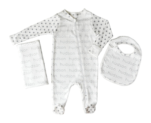 Personalized Baby Footed One-Piece + Blanket + Bib Combo - polka dots