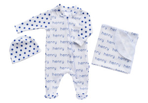 Personalized Baby Footed One-Piece + Blanket + Beanie Combo