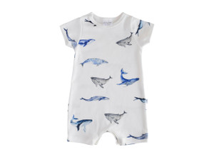 Organic Shorts Romper -  Whale Collection