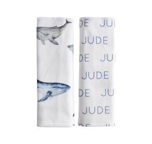 Personalized Double-sided Burp Cloths / whale / set of 2