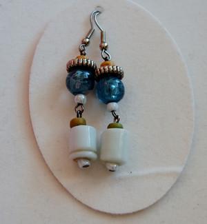 Aquamarine blue beads and Opaque white glass drop earrings