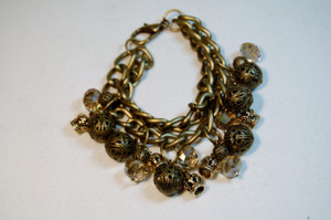 Antique Gold Bead and Crystals Chunky bracelet