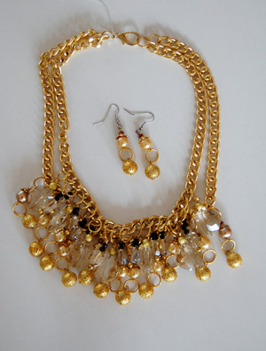 Bright Gold 2 Strand with Citrine-Hued Crystals and Gold Filigree Balls