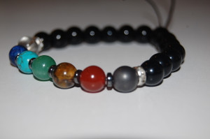 """Balance your 7 Chakras""  Healing Bracelet with Obsidian Stones - Hematite Spacers"