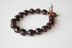 10mm Crystal Cut Smokey Quartz Beaded Bracelet
