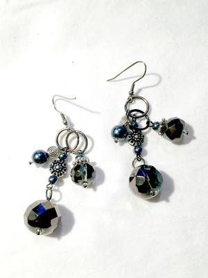 Silver grey crystals drop earrings