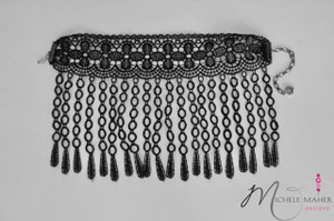 Stunning Oversized Choker with Hanging Lace Detail