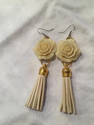 Ivory Rose and Tassel earrings