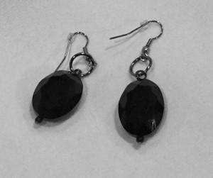 Black Oval Crystal Earrings