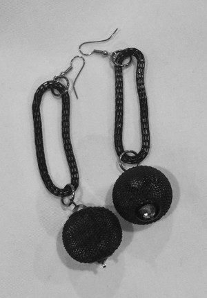 Black Mesh Ball with Loop earrings