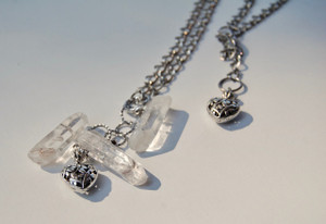 Clear Crystal Quartz & Heart Long Necklace