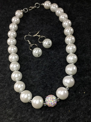 White stone and A/B Rhinestone Necklace set