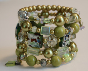Green Crystal Wrap with Murano style tiles Bracelet