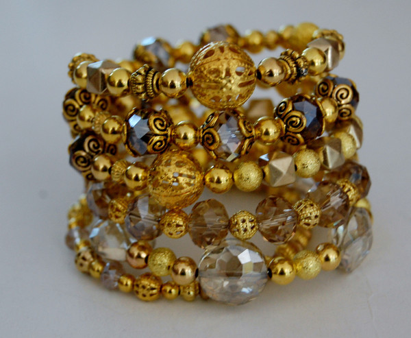 Gold and Crystals wrap bracelet