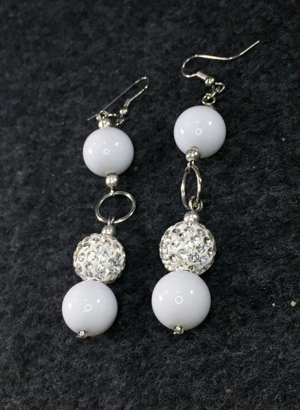 Long White and Rhinestone Earrings
