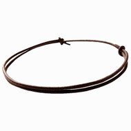 Plain Dark Brown matte 3mm Leather Adjustable Surfer Necklace