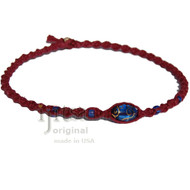 Burgundy twisted hemp neckalce with Blue oval glass beads