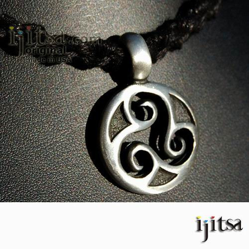 Soft black hemp chain chokernecklace and pewter round triple spiral image 1 aloadofball Images