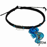 Black flat hemp, blue glass beads with Blue Seahorse Glass Pendant Surfer Style Choker Necklace