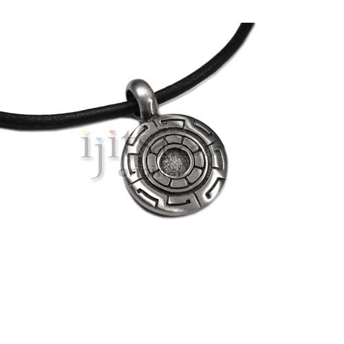 Adjustable leather cord pewter greek key pendant ijitsa greek key pendant image 1 aloadofball Choice Image