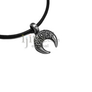 Adjustable leather cord necklace pewter Moon with eye design pendant