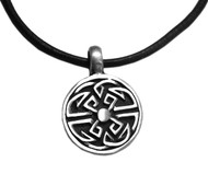 Adjustable leather cord necklace pewter Round with Celtic knot pendant