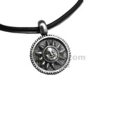 Adjustable leather cord necklace pewter Sun face design pendant