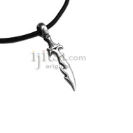 Adjustable leather cord necklace pewter Dagger pendant