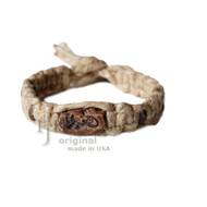 Natural Thick flat hemp bracelet or anklet with Cave Drawing ceramic bead
