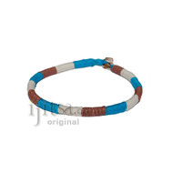 Leather Bracelet wrapped with Turquoise, Brown and White hemp
