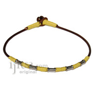 Brown Leather Necklace with Yellow Hemp and metal beads