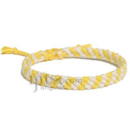 Yellow and Pearl Bamboo Yarn Diagonal Surfer Bracelet or Anklet
