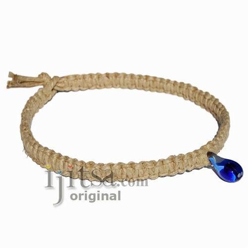 Natural flat thick hemp large blue mushroom glass pendant necklace mushroom glass pendant necklace image 1 aloadofball Images