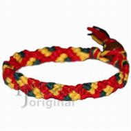 Red, yellow and dark green hemp Snake bracelet or anklet