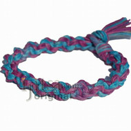 Purple/Blue rainbow hemp wide twisted bracelet or anklet
