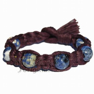 Dark Burgundy wide flat hemp bracelet or anklet with six sodalite beads