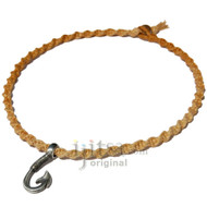 Golden brown twisted hemp necklace with pewter hook