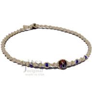 Natural twisted hemp blue round glass bead choker necklace