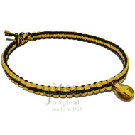 Yellow and black wide flat hemp necklace yellow glass mushroom
