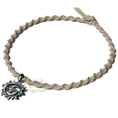 Natural twisted handmade hemp necklace with spiral sun pewter image 1 aloadofball Images