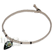 Natural flat hemp necklace with Black/Green and White Flower Glass Pendant