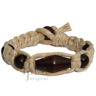 Natural flat wide hemp bracelet with Dark brown wooden beads