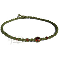 Avocado twisted  hemp necklace with round red glass bead