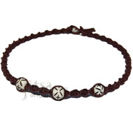 Dark brown twisted hemp necklace with three white bone beads