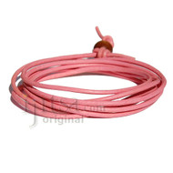 2mm pink leather adjustable surf wrap bracelet