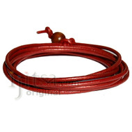 2mm Moroccan red leather adjustable surf wrap bracelet