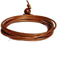 2mm metallic copper leather adjustable surf wrap bracelet