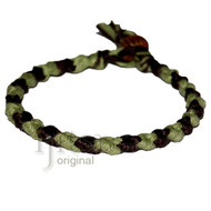 Pistachio and dark brown hemp Dots bracelet or anklet